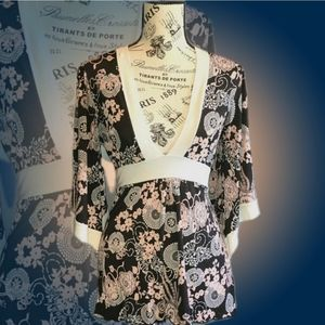Cotton Club Floral Kimono Sleeve V-neck Top